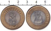 Изображение Монеты Индия 10 рупий 2011 Биметалл XF
