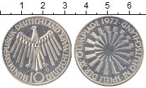 Изображение Монеты ФРГ 10 марок 1972 Серебро UNC- Олимпиада 1972. Мюнх