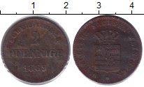 Изображение Монеты Саксен-Майнинген 2 пфеннига 1869 Медь XF-