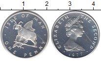 Изображение Монеты Остров Мэн 1 пенни 1977 Серебро Proof