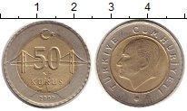 Изображение Монеты Турция 50 куруш 2009 Биметалл XF