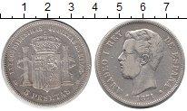 Изображение Монеты Испания 5 песет 1871 Серебро XF Амадео I.