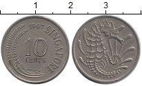 Изображение Дешевые монеты Сингапур 10 центов 1967 Медно-никель XF