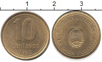 Изображение Дешевые монеты Аргентина 10 сентаво 1992 Латунь XF