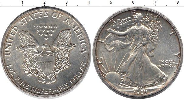 Купить серебряную монету 1 доллар сша 1989 года состояние un.