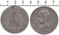 Изображение Монеты Испания 5 песет 1890 Серебро VF