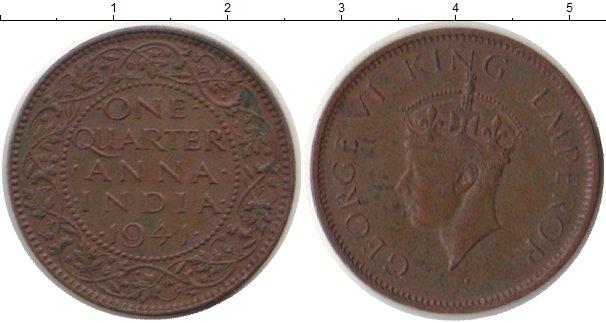 Картинка Монеты Индия 1/4 анны Медь 1941