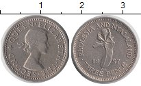 Изображение Монеты Родезия 3 пенса 1957 Медно-никель XF