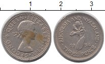Изображение Монеты Родезия 3 пенса 1956 Медно-никель XF Елизавета II