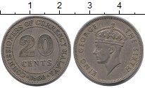Изображение Монеты Малайя 20 центов 1950 Медно-никель XF Георг VI.