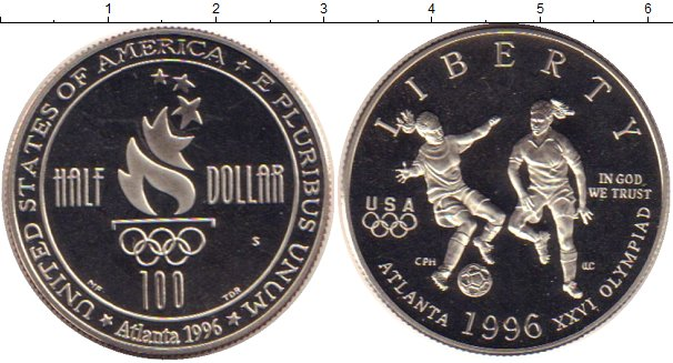 Купить монету сша 1/2 доллара серебро - 1996 год.