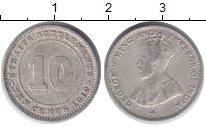 Изображение Монеты Стрейтс-Сеттльмент 10 центов 1919 Серебро XF