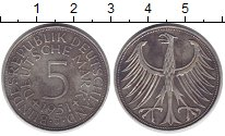 Изображение Монеты ФРГ 5 марок 1951 Серебро XF J