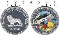 Изображение Монеты Конго 10 франков 2000 Серебро Proof Цветная геометрическ