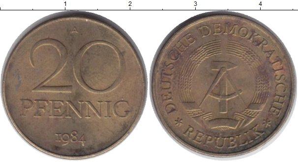 Картинка Дешевые монеты ГДР 20 пфеннигов Бронза 1984