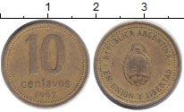 Изображение Дешевые монеты Аргентина 10 сентаво 1992 Латунь VF