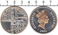 Изображение Монеты Олдерни 5 фунтов 2002 Серебро Proof