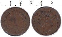 Изображение Монеты Стрейтс-Сеттльмент 1 цент 1884 Медь VF