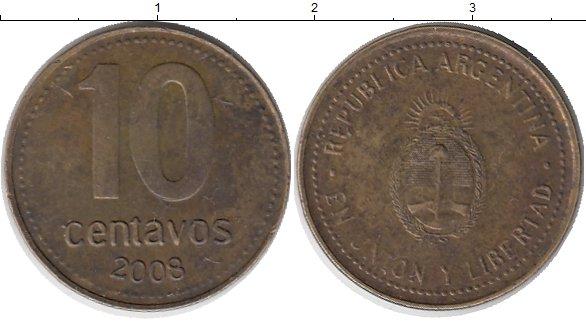 Картинка Дешевые монеты Аргентина 10 сентаво Латунь 2008