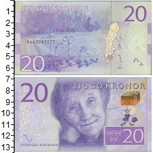 Изображение Боны Швеция 20 крон 0  UNC Астрид  Линдгрен.