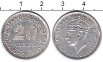 Изображение Монеты Малайя 20 центов 1939 Серебро XF Протекторат  Британи