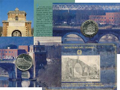 """Изображение Подарочные наборы Италия 2.100 лет мосту Мильвио 1991 Серебро UNC """"Есть в Италии такое"""