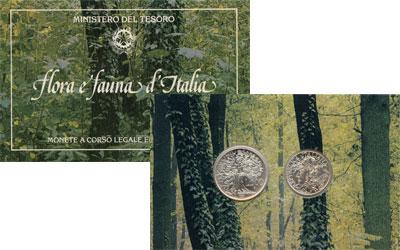 Изображение Подарочные монеты Италия Флора и фауна Италии 1991 Серебро UNC