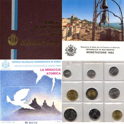 """Изображение Подарочные монеты Сан-Марино Набор 1983 года 1983  UNC """"Набор монет из обра"""