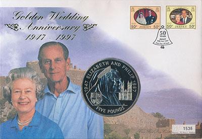 Изображение Подарочные монеты Остров Джерси 50 лет Свадьбы Елизаветы II 1997 Медно-никель UNC Монета номиналом 5 ф