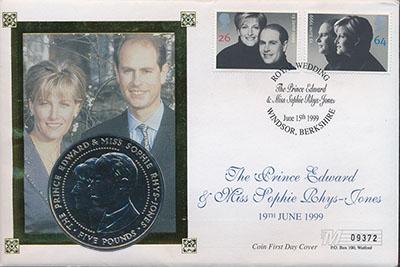 Изображение Подарочные монеты Гернси Свадьба принца Эдварда 1999 Медно-никель UNC Монета номиналом 5 ф