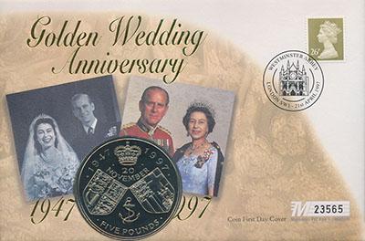 Изображение Подарочные монеты Великобритания 50 лет Свадьбы Елизаветы II 1997 Медно-никель UNC Монета номиналом 5 ф