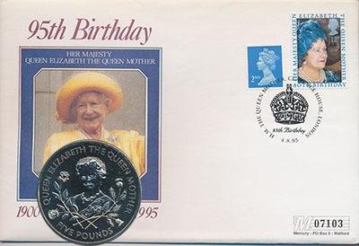 Изображение Подарочные монеты Гернси 5 фунтов 1995 Медно-никель UNC Монета номиналом 5 ф