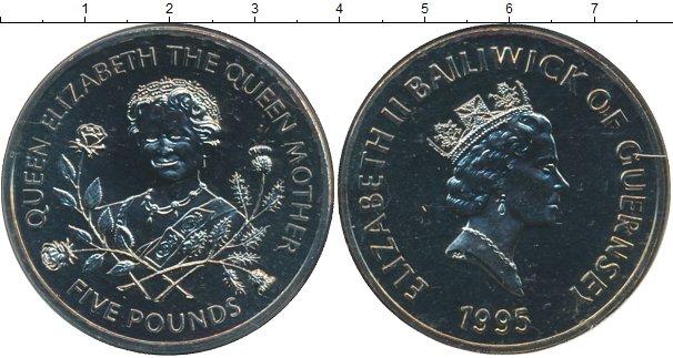 Картинка Подарочные монеты Гернси 95 лет Королеве-матери Медно-никель 1995