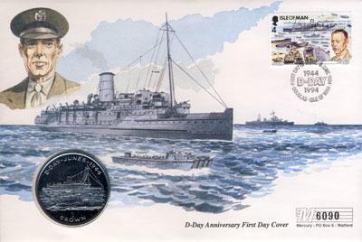 Изображение Подарочные монеты Остров Мэн 1 крона 1994 Медно-никель UNC Монета номиналом 1 к
