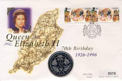 Изображение Подарочные монеты Остров Мэн 1 крона 1996 Медно-никель UNC Монета номиналом 1 к
