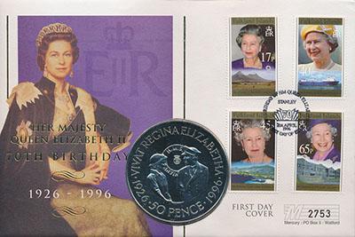 Изображение Подарочные монеты Фолклендские острова 50 пенсов 1996 Медно-никель UNC Монета номиналом 50