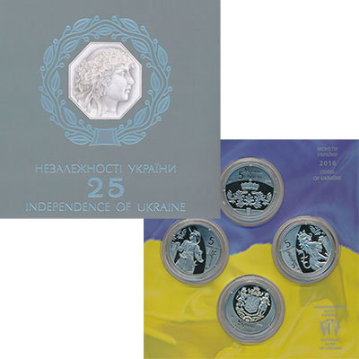Изображение Подарочные монеты Украина 25 лет Независимости 2016 Медно-никель Prooflike Набор из четырех мон