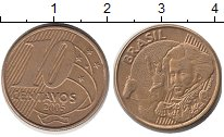 Изображение Барахолка Бразилия 10 сентаво 2005 Латунь-сталь XF-