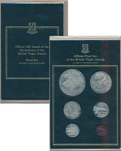 Изображение Подарочные монеты Виргинские острова Морская фауна 1985  Proof В набор входят шесть