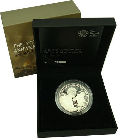 Изображение Подарочные монеты Олдерни 5 фунтов 2014 Серебро Proof Монета номиналом 5 ф