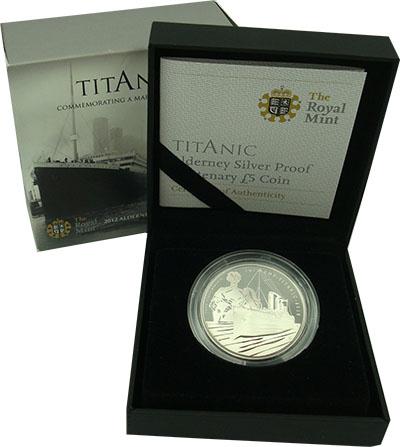 Изображение Подарочные монеты Олдерни 5 фунтов 2012 Серебро Proof Монета номиналом 5 ф