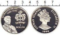 Изображение Монеты Каймановы острова 1 доллар 1994 Серебро Proof Елизавета II. Сэр  Ф