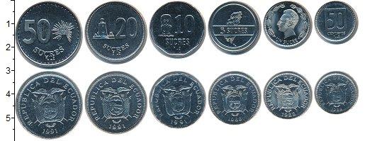 Изображение Наборы монет Эквадор Эквадор 1988-1991 0  UNC- В наборе 6 монет ном