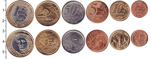 Изображение Наборы монет Бразилия Бразилия 2004-2013 2004 Неопределено UNC- В наборе 6 монет ном