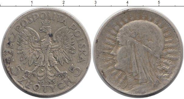 Картинка Монеты Польша 5 злотых Серебро 1933