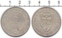 Изображение Монеты Веймарская республика 3 марки 1926 Серебро XF 700 лет Любеку