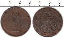 Изображение Монеты Сан-Марино 10 сентесим 1875 Бронза XF