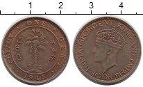 Изображение Монеты Цейлон 1 цент 1945 Бронза XF