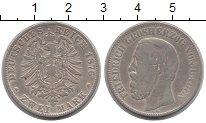 Изображение Монеты Баден 2 марки 1876 Серебро VF Фридрих.