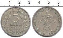 Изображение Монеты Веймарская республика 3 марки 1925 Серебро XF 1000 - летие  Рейнла